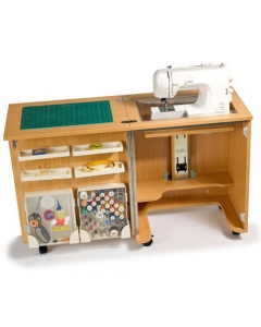 Horn Cub Plus 1010 Sewing Cabinet showing sewing machine in flat bed use.