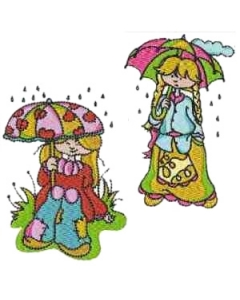 10 set of Laura Rainy Day  Embroidery Design