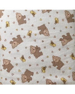 Brown Bear 100% Brushed Cotton Fabric