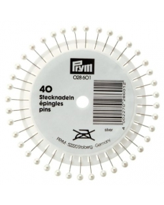 Prym Plastic Pearl-headed Silver pins 028601