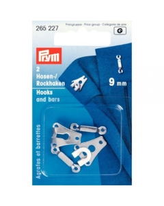 Prym Trouser & Skirt Hooks/Bars 9mm Silver