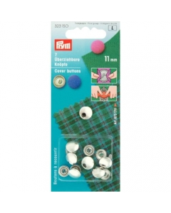 Prym Cover Buttons Brass Silver 11mm
