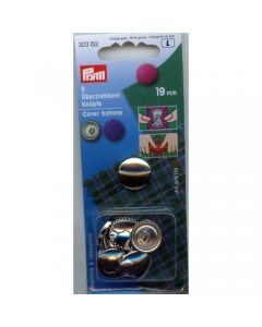 Prym Cover Buttons Brass Silver 19mm