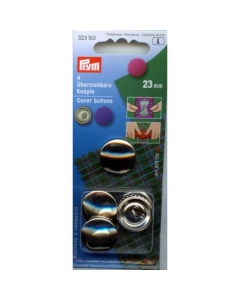 Prym Cover Buttons Brass Silver 23mm