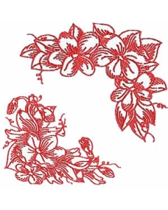 10 set Redwork Violet Corners Borders Embroidery Design