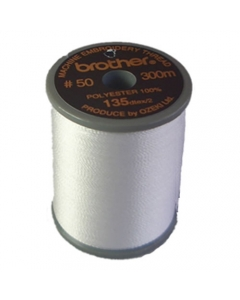Brother satin finish embroidery thread. 300m spool WHITE 001