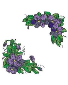 10 Set Violets and Corner Machine Embroidery Designs