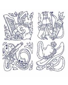 40 Redwork Western Embroidery Design